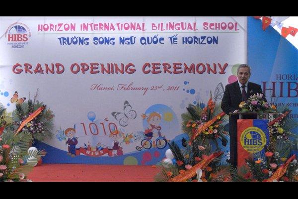 Deputy Prime Minister of Turkey Mr. Bulent Arinc at the ribbon cutting ceremony of 5th campus of Horizon Bilingual International School in Hanoi, Vietnam