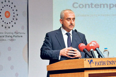 GYV President Mustafa Yeşil speaks at Friday's international coexistence conference in İstanbul. (Photo: Cihan)