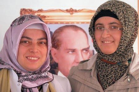 Pak-Turk International School's Turkish staff member (left) and vice-principal, Aynur Pazarci (right). PHOTO: ATHAR KHAN
