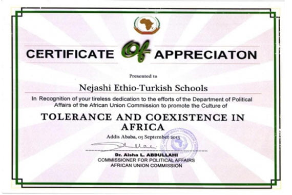 Ethio turkish schools receive certificate of appreciation from ethio turkish schools receive certificate of appreciation from african union yelopaper Choice Image