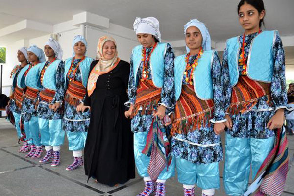 Sevim (in the centre) joins a group of girls dancing to the tune of Turkish song 'Yeni bir dunya'. Photo: Nagara Gopal