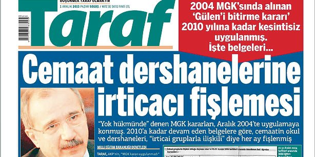 Snapshot of Taraf daily's front page on Sunday. (Photo: Today's Zaman)