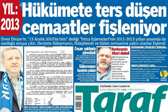 Front page of Taraf daily on Dec. 2. (Photo: Today's Zaman)