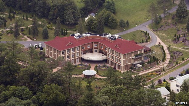Mr Gulen lives in a smaller building on this private estate in Pennsylvania