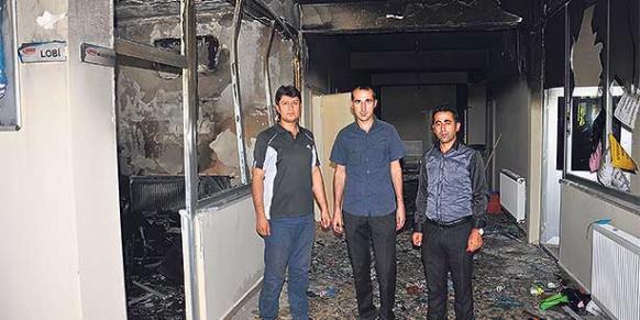 At least one student injured as PKK terrorists set a student dorm on fire in Muş. (Photo: Cihan)