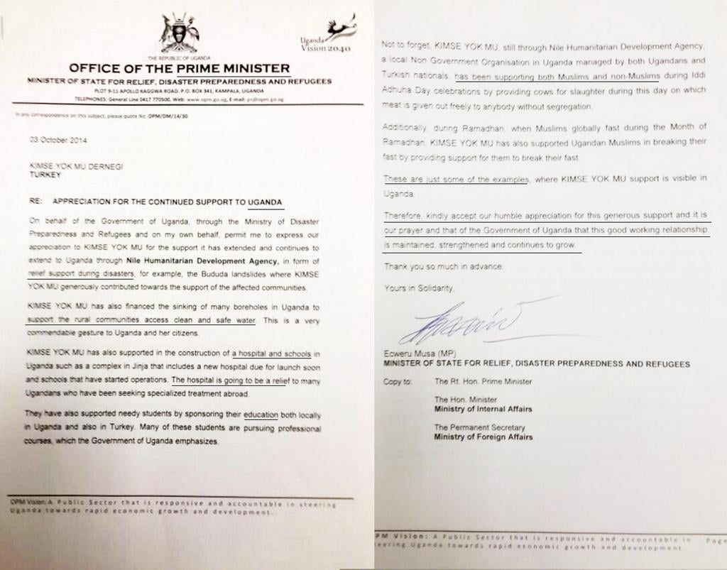 A letter we've received from the Office of the Prime Minister of Uganda