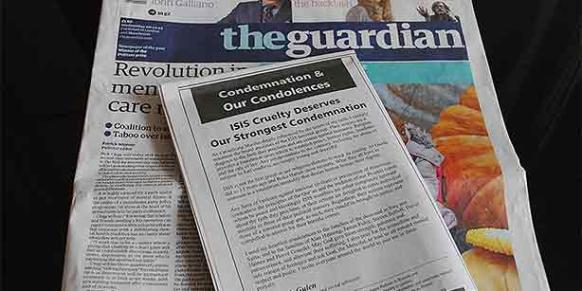 Turkish Islamic scholar Fethullah Gülen's message on the ISIL appeared on Wednesday in the UK-based Guardian newspaper. (Photo: Cihan)