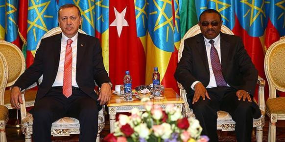 President Recep Tayyip Erdoğan meets with Ethiopian Prime Minister Hailemariam Desalegn on Thursday. (Photo: DHA)