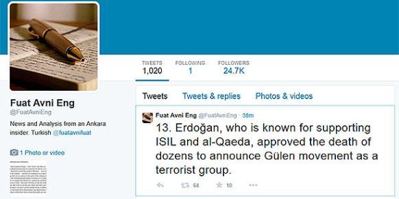A screenshot taken from whistleblower fuatavni's Twitter account. (Photo: Today's Zaman)