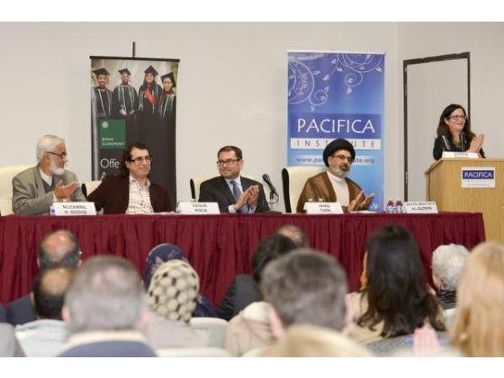 "Muzammil Siddiqi, left, Ozgur Koca, Jihad Turk, Imam Sayed Mostafa al-Qazwini and Sophia Pandya participate in the ""Muslim Voices Against Extremism"" program at Pacifica Institute in Irvine. / VICTOR M. POSADAS, CONTRIBUTING PHOTOGRAPHER"