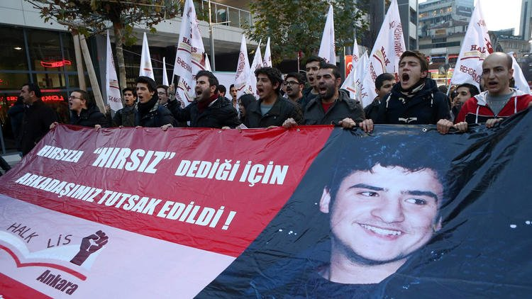 Demonstrators protest the detainment of 16-year-old Turkish citizen Mehmet Emin Altunses, who was released from jail on Dec. 26 two days after his arrest for
