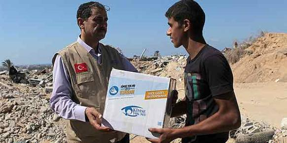 Kimse Yok Mu charity distributed aid packages to Palestinian families who have suffered due to the war in Gaza.