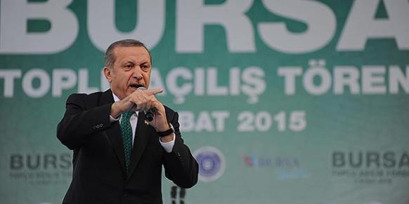 Turkish President Recep Tayyip Erdoğan addressing a meeting in Bursa on Friday. (Photo: DHA)