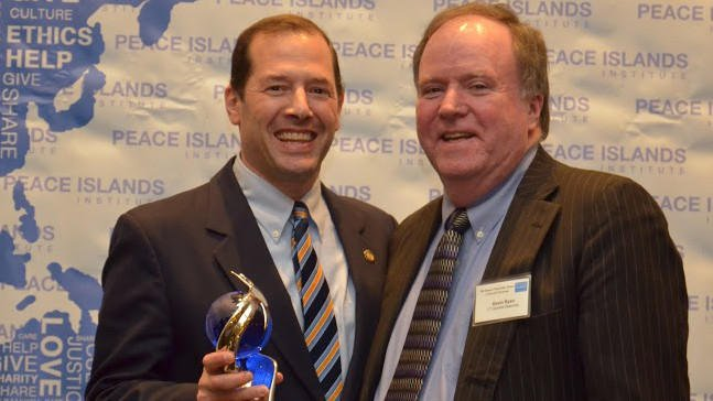Rep. Andy Fleischmann (D-West Hartford) receives the Statesman of the Year Award standing with Rep. Kevin Ryan (D-Montville) on right (Posted by jim.carson, Community Contributor)
