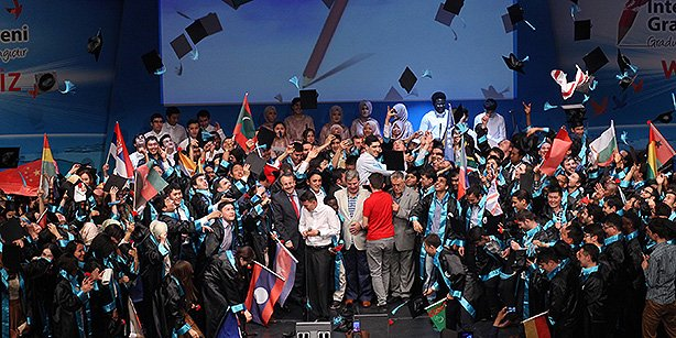 Foreign students who have come to study in Turkey threw their caps into the air in celebration at a graduation ceremony held in Istanbul