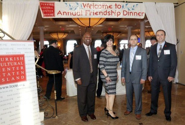 Honorees Reverend Dr. Demetrius S. Carolina, Interfaith Dialog Award; and Leticia Remauro, Community Service Award; with executive director Ismail Alaca and advisor Hakan Tale at the Turkish Cultural Center of Staten Island annual Friendship Dinner Thursday, may 14, 2015 at the Vanderbilt in South Beach. Councilman Vincent Ignizio (not pictured) received the Friendship Award. (Staten Island Advance/Bill Lyons)