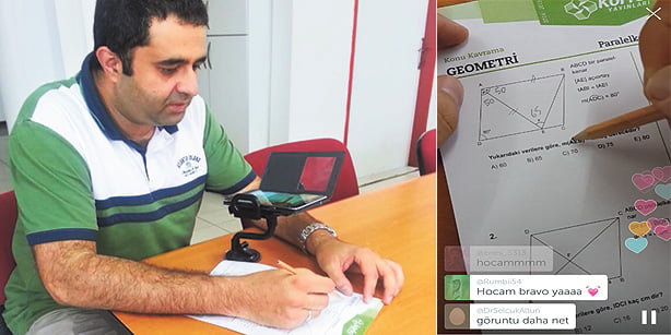 """A teacher known as """"Ekol Hoca"""" has gained attention after the CEO of Periscope thanked him for providing online lessons. (Photo: Todayszaman.com)"""