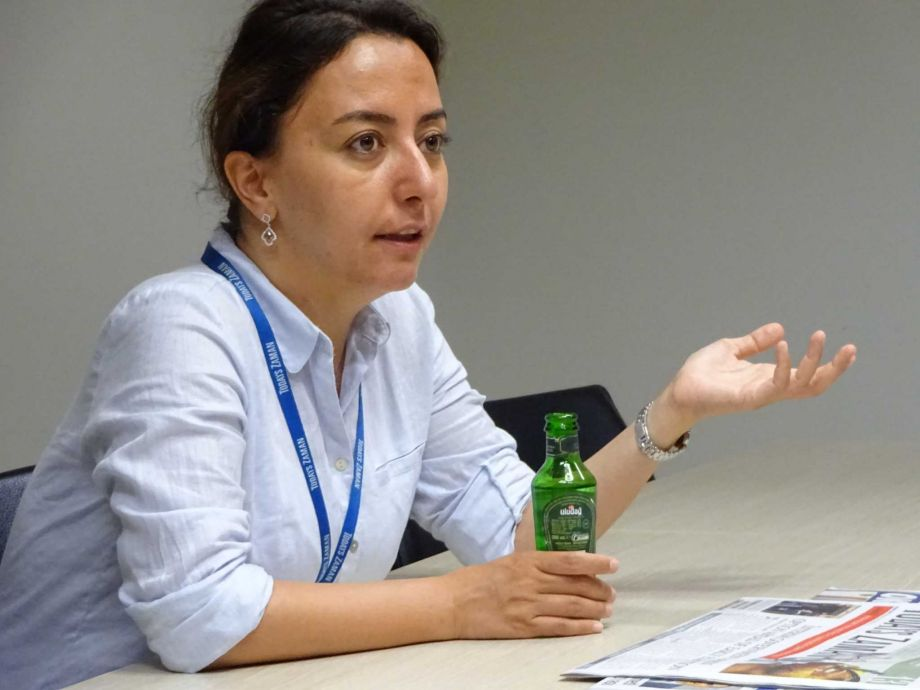 Sevgi Akarcesme, a columnist for Today's Zaman newspaper in Turkey, has been under pressure by the Erdogan regime for her tweets and articles critical of the Erdogan government. (Paul Grondahl / Times Union)