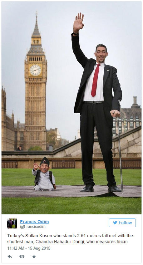 Turkey's Sultan Kosen who stands 2.51 metres tall met with the shortest man, Chandra Bahadur Dangi, who measures 55cm