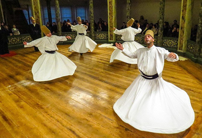 The Whirling Dervishes of Rumi, a Sufi Muslim order from Konya, Turkey, perform Wednesday, Sept. 23, at Thalia Mara Hall. Photo courtesy The Dialog Institute