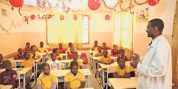 Students attend class at a school inspired by the faith-based Gülen movement in Guinea.