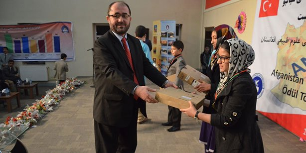 An opening ceremony was held for the Afghanistan 10th National Science Competition at the Ariana Afghan Turk High School in Kabul on Tuesday. (Photo: Cihan)