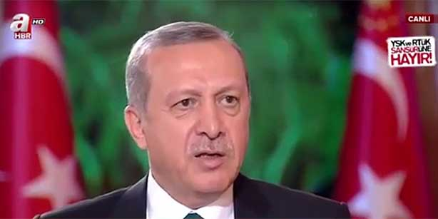 President Recep Tayyip Erdoğan is seen during an interview with pro-government A Haber in this still image made from a video of the interview.