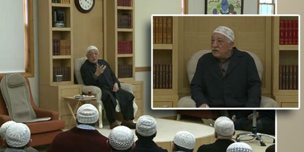 Gülen is seen during his speech aired live on Sunday.