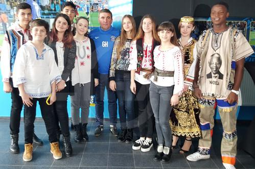Students, arriving at Romania for International Festival of Language and Culture (IFLC), visited the legendary football name Gheorghe Hagi, at his club building in Constanta, on Saturday.