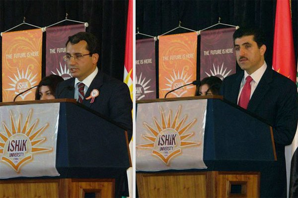 PM Barzani and Turish MS attend the opening of Ishik University in Erbil in 2008. On the right, Prime Minister Nechirvan Barzani; on the left, Turkey's then Consul General Mr. Ahmed Yildiz