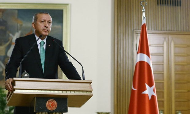 President Erdoğan has launched a purge of state personnel who he believes are linked to the exiled cleric Fethullah Gülen. Photograph: Kayhan Ozer/AFP/Getty Images