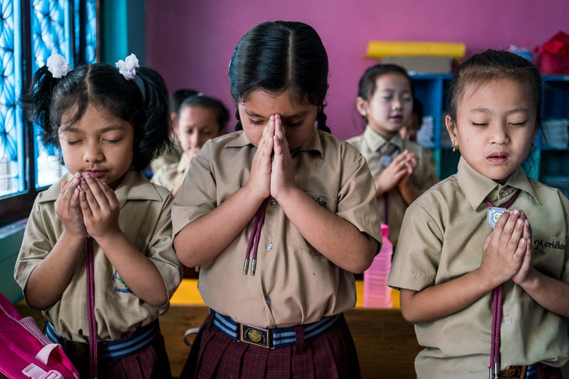 Morning prayer at the Meridian International School, one of the most diverse, progressive, and high achieving schools in Kathmandu - Nepal, 2016. ALEX MOREL
