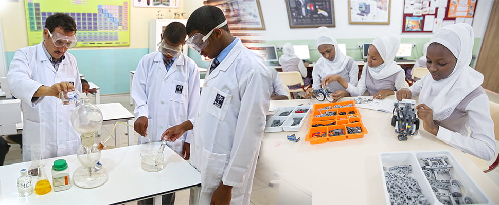 Students during experiments at a Nigerian Turkish School