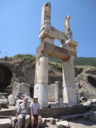 Richard Saxer Author Arend and husband Richard Saxer included a stop at Ephesus as part of their 2012 Atlas tour of Turkey.