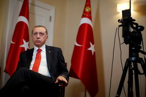 Turkish President Tayyip Erdogan prepares for an interview in New York City, September 19, 2016. REUTERS/Brendan McDermid.
