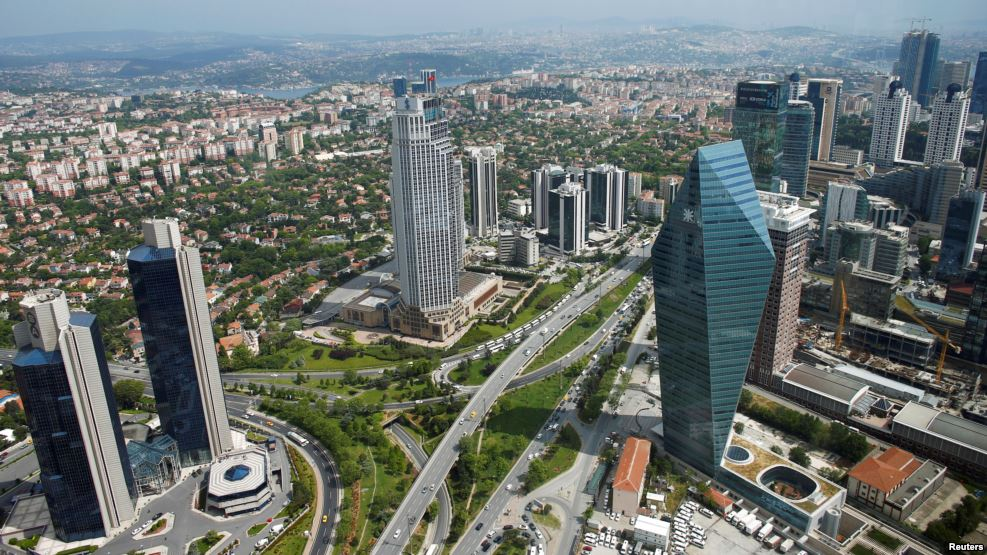 FILE - The business and financial district of Levent, which comprises leading Turkish companies' headquarters and popular shopping malls, is seen from the Sapphire Tower in Istanbul, Turkey, May 3, 2016.