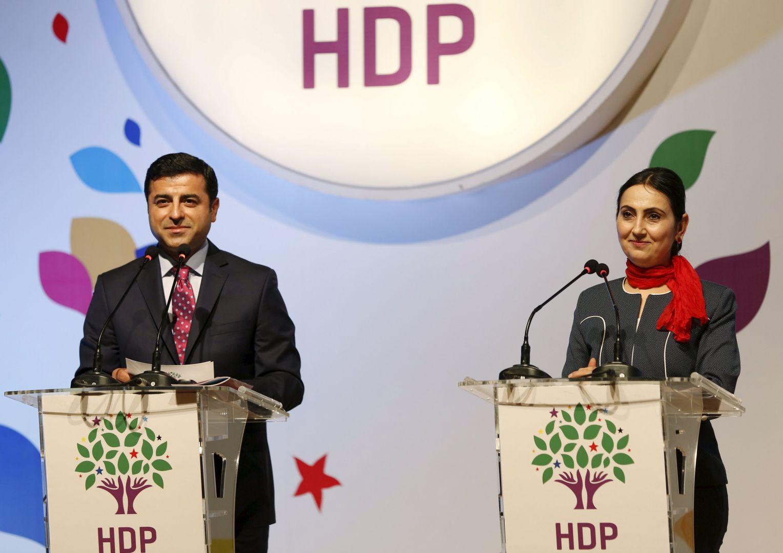 Co-leaders, Selahattin Demirtas and Figen Yuksekdag, of the People's Democratic Party (HDP)