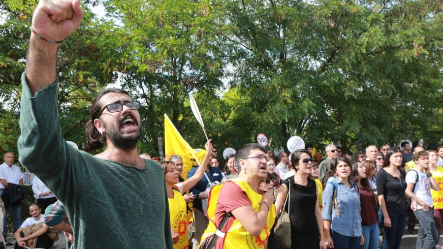 Demonstrators shout during a protest against the suspension of academics from universities following a post-coup emergency decree in Ankara (Adem Altan/AFP/Getty Images)