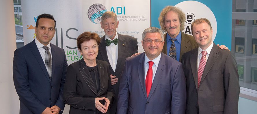 From left: Prof Fethi Mansouri, Prof Jane Den Hollander, Prof Gary Bouma, Prof Ihsan Yilmaz, Prof Ori Soltes and Mr Ahmet Keskin at the launch of Fethullah Gulen Chair in Islamic Studies and intercultural dialogue.