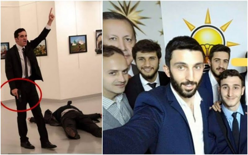 Mevlut Mert Altintas, 22, gunned down Russian ambassador Andrei Karlov. Altintas was a member of Ankara's riot squad according to local media. Altintas was staunch supporter of Erdogan and AKP. On the picture above he is in front of AKP flag and Erdogan's picture. (Picture added by HN, not included original article in Washington Examiner)