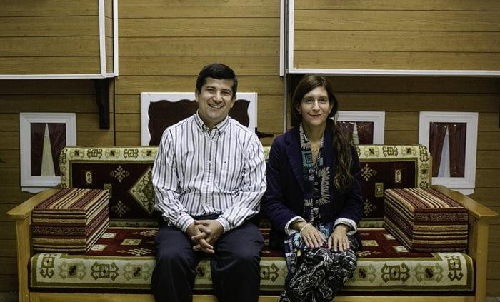Beytullah and Gabriella Colak sit for a portrait at the Raindrop Turkish House. Photo: Kathryn Boyd-Batstone / Rivard Report