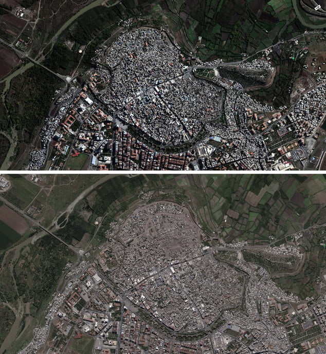 In this combo of satellite imagery made available by DigitalGlobe through Amnesty International, shows the Sur district in the mainly Kurdish city of Diyarbakir, southeastern Turkey, top, on Nov. 8, 2015, before the major curfew put into effect on Dec. 11, 2015, and below on May 10, 2016, after the end of the armed clashes, showing a portion of buildings in the eastern half of the city have been damaged or demolished. In a report released Tuesday Dec. 6, 2016, human rights group Amnesty International says Turkish authorities have forcibly evicted tens of thousands of people during security operations in the pre-dominantly Kurdish district of Diyarbakir and prevented their return by expropriating and demolishing homes in a policy that may amount to collective punishment.(DigitalGlobe via AP)
