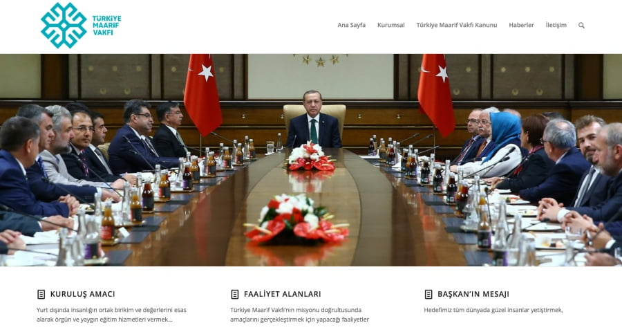 Screenshot from Maarif Foundation website: Foundation's Board of Trustees visit President Erdogan.