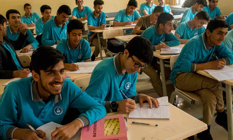 Boys at a Gülenist high school in Kabul. Photograph: Sune Engel Rasmussen for the Guardian