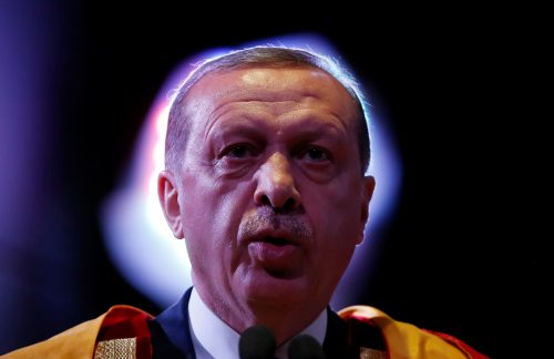 Turkish President Tayyip Erdogan addresses a gathering after receiving an honorary Doctor of Letters degree from M. A. Zaki, Chancellor of Jamia Millia Islamia University, during a convocation in New Delhi, India, May 1, 2017. REUTERS/Adnan Abidi.