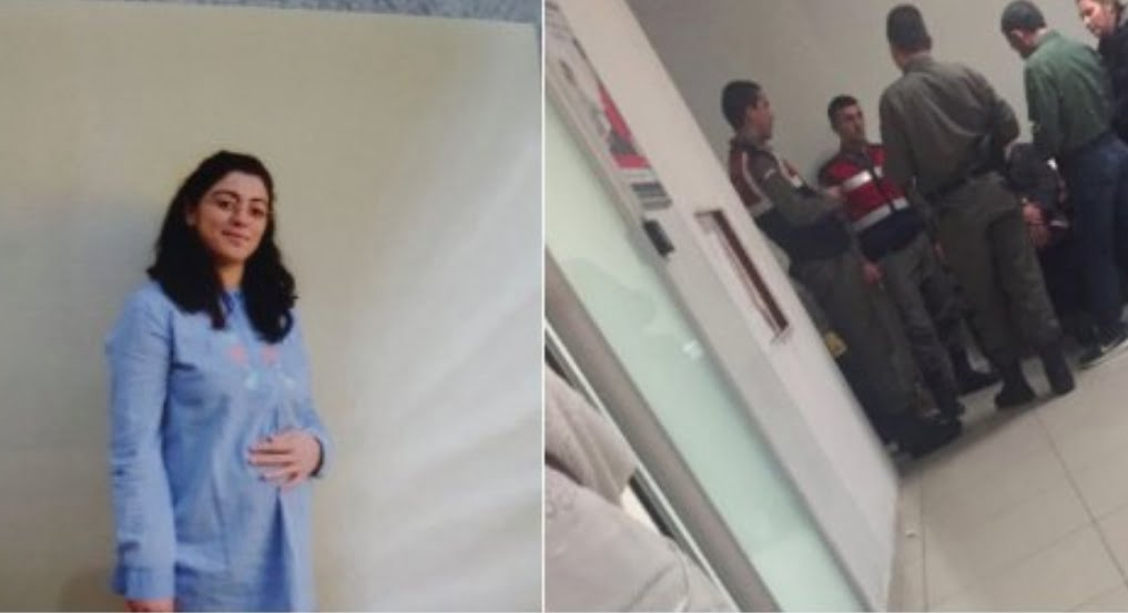 Gendarme wait at the door in the hospital to take Ayse Ates and her new-born baby to jail.