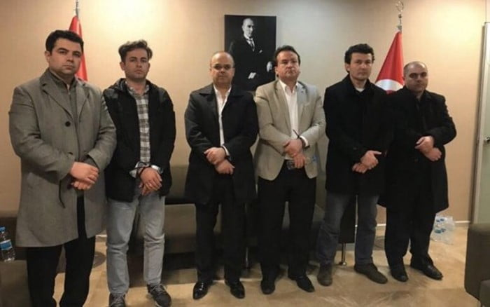 Six Turkish nationals who were abducted by Turkey's National Intelligence Organization in Kosovo on Thursday are seen allegedly in the Turkish Embassy in Pristina. (Photo: Vocal Europe)