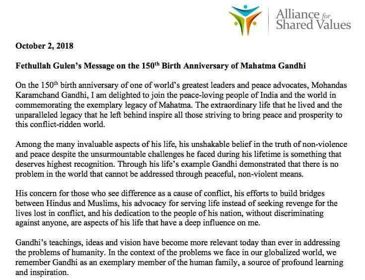 Fethullah Gulen's message on the 150th birth anniversary of Mahatma Gandhi.