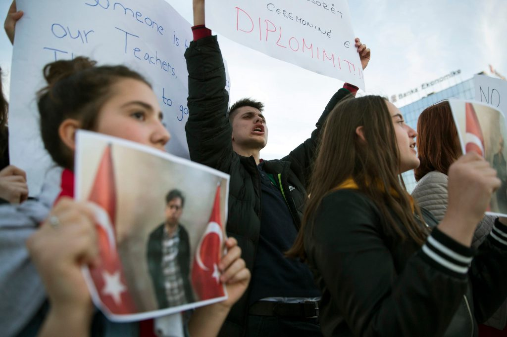 Students in Kosovo protest the arrest and deportation of their teachers
