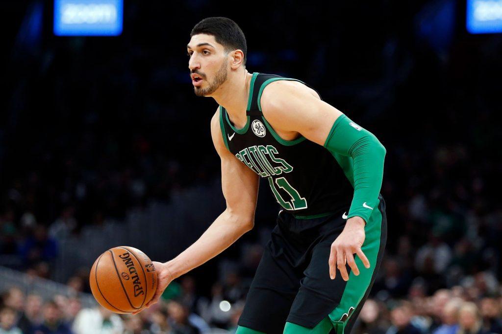 Boston Celtics' Enes Kanter during the first half of an NBA basketball game (AP)